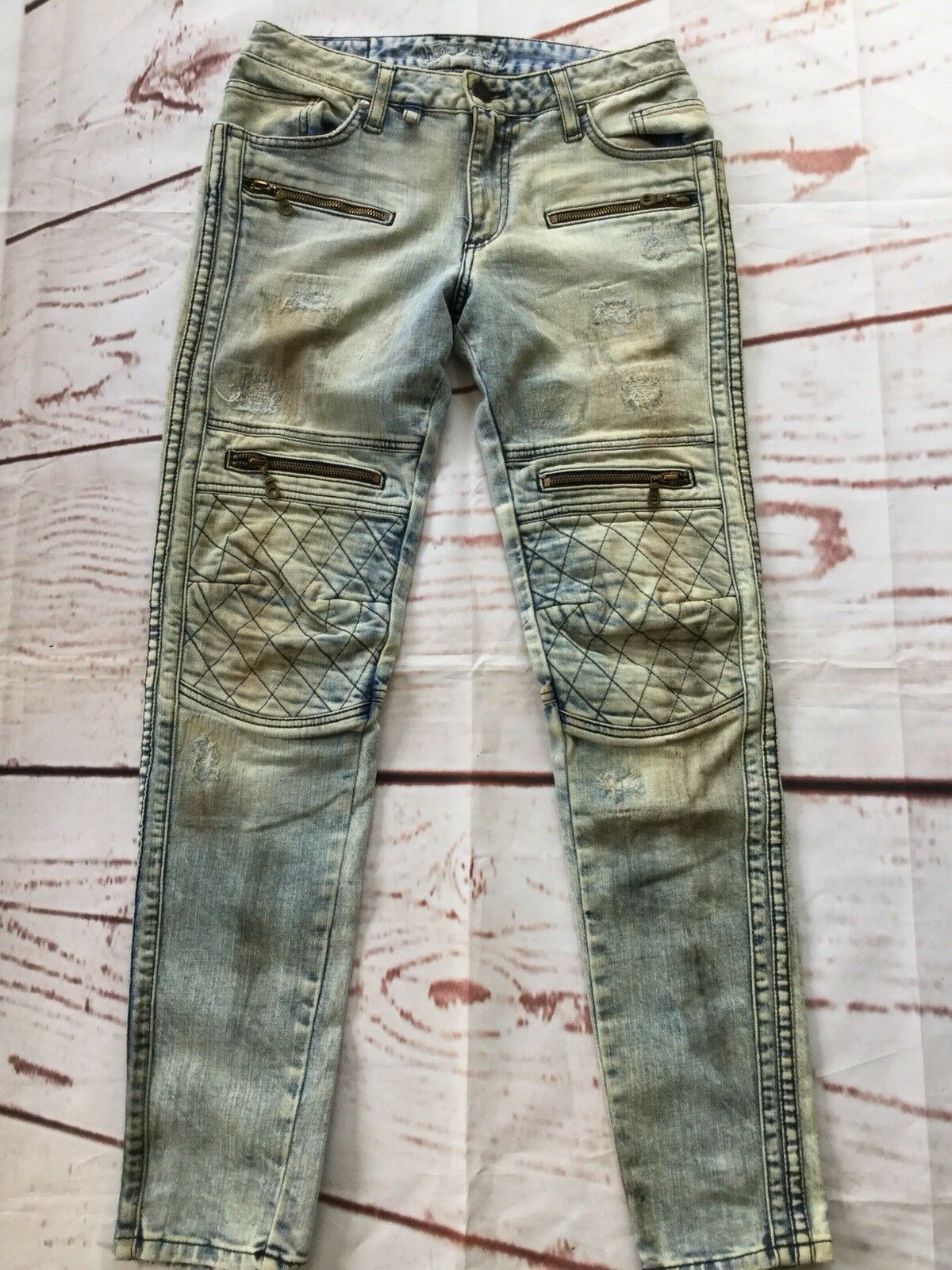 Robin's Jean Men's Raver Slim Skinny Moto Biker Jeans Zip Details Size 29