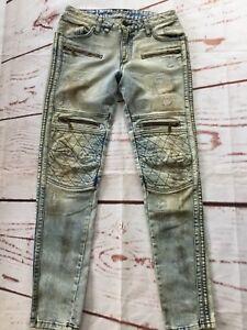 Robin S Jean Para Hombre Raver Biker Jeans Ajustados Slim Moto Detalles De Cremallera Talla 29 Ebay