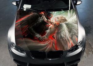 Angel And Demon Car Hood Wrap Full Color Vinyl Sticker