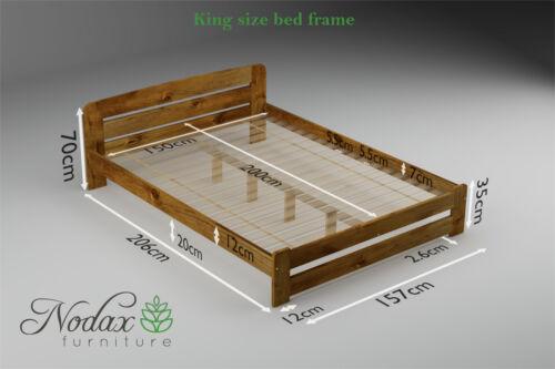 *NODAX* King Size Bed 5ft Wooden Bedframe Headboard/&Footboard /& Wooden Slats