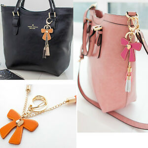 Women-bag-accessory-genuine-leather-tassel-charm-Key-chain-ring-Handbag-ornam396