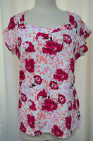 Susan Lawrence Berry Floral Tee Top Square Neck Cotton Cap Sleeves Size L