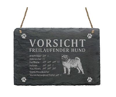 Beliebte Marke Schiefertafel « Mops - Vorsicht - Freilaufender Hund » Schild Hunde Garten Haus In Den Spezifikationen VervollstäNdigen