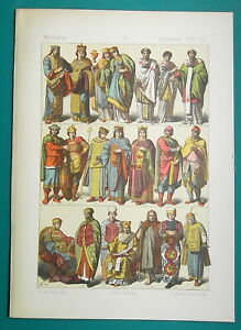 BYZANTINE-COSTUME-11-13th-C-Empress-Soldiers-Officials-1883-Color-Litho-Print