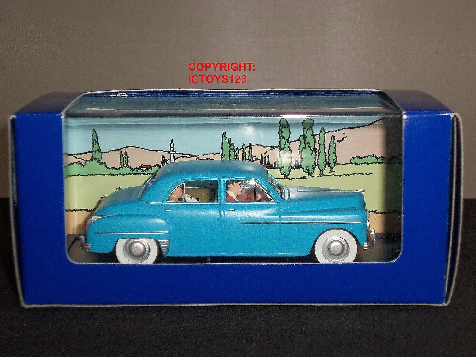 TINTIN no.30 dell'obiettivo LUNE FUMETTO Blu Dodge Coronet Modello Diecast Auto + FIGURE