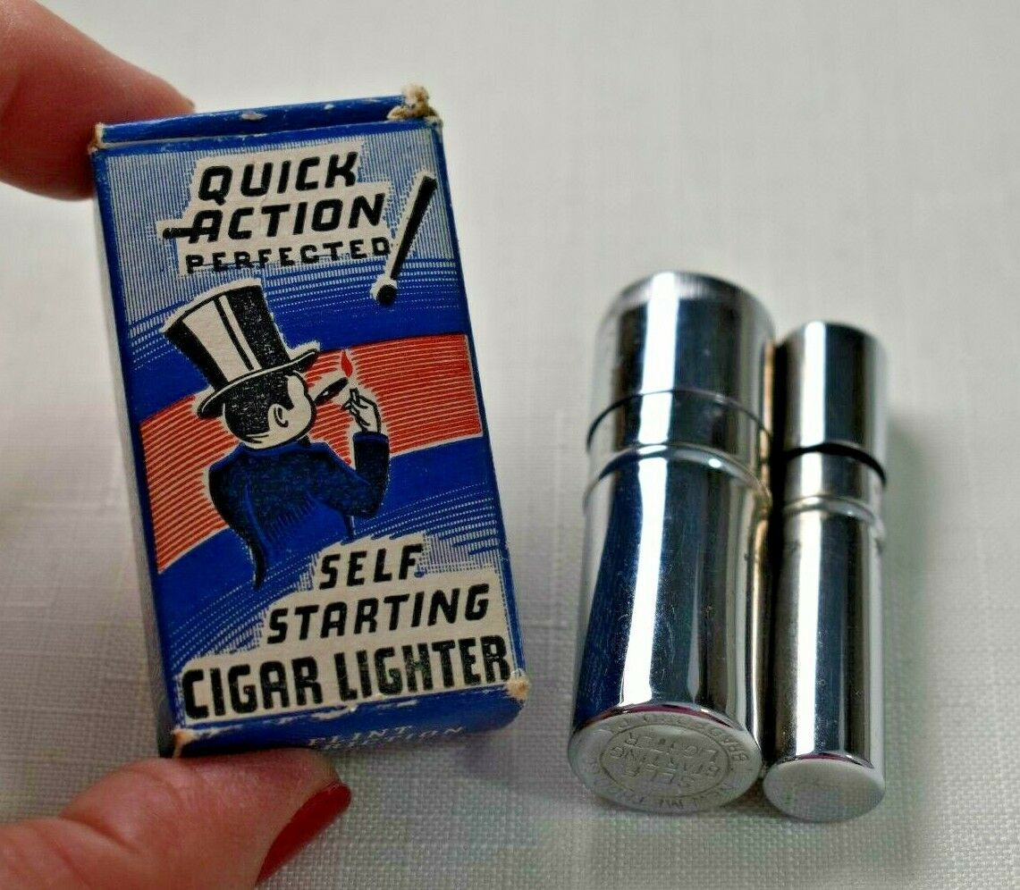 Vintage QUICK ACTION PERFECTED Self Starting CIGAR LIGHTER - in Original Box. Buy it now for 165.00