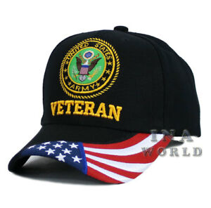 345d60b07a1 U.S. ARMY hat VETERAN ARMY USA Flag bill Licensed Military Baseball ...