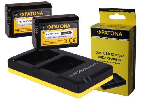 7rm2 a7r II-np-fw50 2 x patonas para-Batería doble-dual-cargador Sony Alpha ILCE