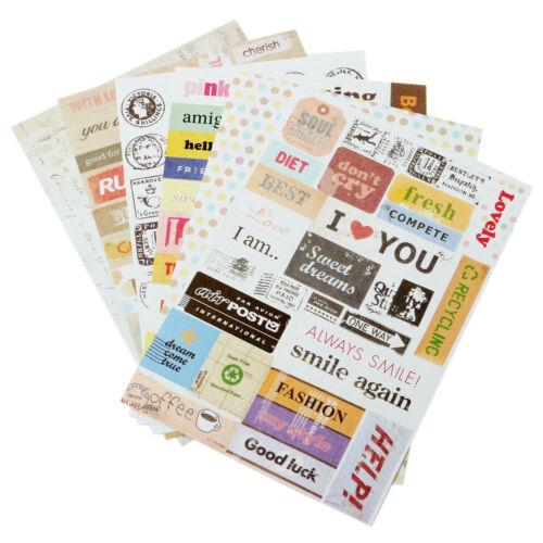 6 Sheet Letter Stamp Calendar Paper Sticker Scrapbook Diary Planner Photo Décor