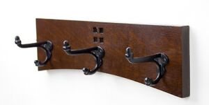 Arts and Crafts / Mission 14 Inch 3 Cast Iron Hook Coat Rack