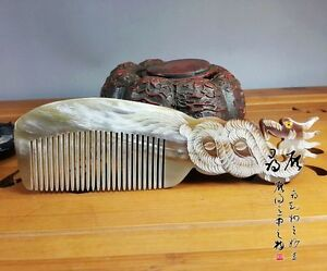 Chinese-natural-Ox-horn-comb-Health-massage-Statue-Dragon
