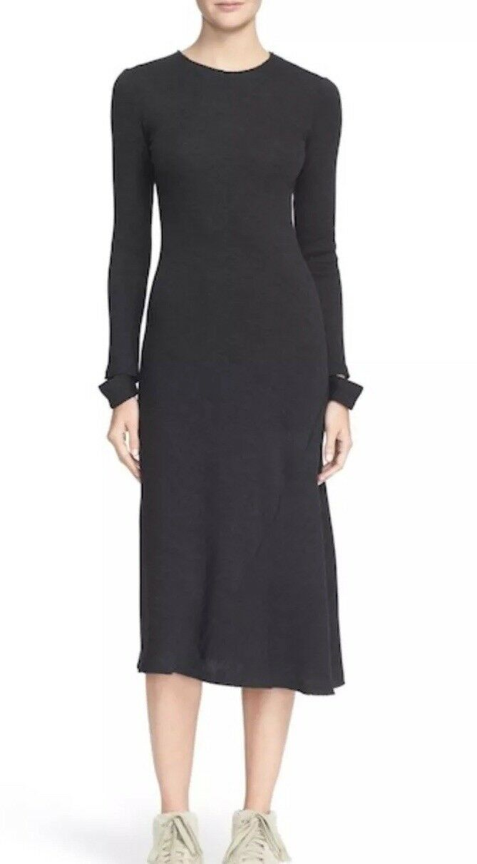 Helmut Lang Detached Cuff Rib Knit Long Sleeve Bodycon Dress Size L