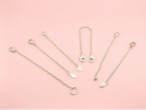 925-Sterling-Silver-ROLLO-Chain-SAFETY-Extension-EXTENDER-Lobster-CLASP-Drop