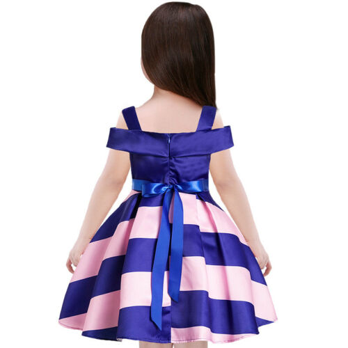 Childrens Kids Girls Striped Formal Fancy Princess Party Pageant Dress #B12