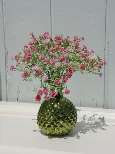 POT VASE AVEC VOILE Herbe 2 couleur vert rose verre Losange Aspect Shabby h.18
