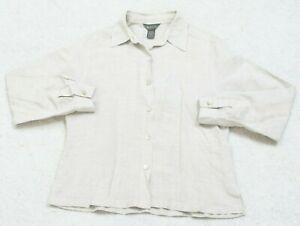 Van-Heusen-Beige-Woman-039-s-Dress-Shirt-Size-Medium-Long-Sleeve-Linen-Rayon-WS-72