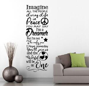John Lennon Imagine Song Lyrics Wall Sticker Decal Transfer Design Matt Vinyl UK