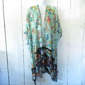 New-Angie-Kimono-Wrap-OS-One-Size-S-M-L-XL-Green-Floral-Bird-Boho-Peasant