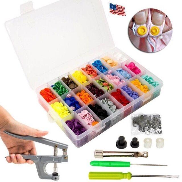 360 Set DIY Craft Kam Snaps T5 Snap Starter Plastic Poppers Fasteners Pliers