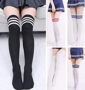 adef7e494b90d Women Girls Lady Over Knee Thigh High Stockings Long Socks Stripe ...