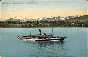 Schiffe-Dampfer-um-1910-Lac-Leman-Genfersee-mit-Mont-Blanc-Alpen-Ship-Postcard