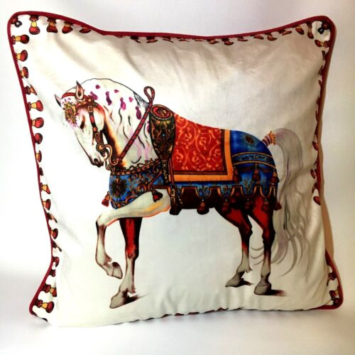 Luxe Coussin Coussin Housse Blanc Rouge Méduse Taie d/'oreiller Coussin HORSE Pillowcase