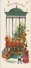 VINTAGE MUSIC ORCHESTRA CONDUCTOR FRENCH HORN GAZEBO GREETING CARD ART PRINT