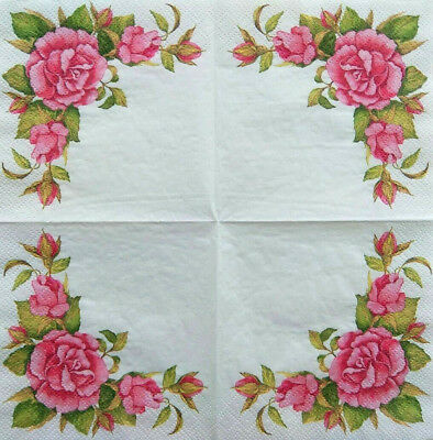 4x Paper Napkins for Decoupage Decopatch Craft Asia Roses