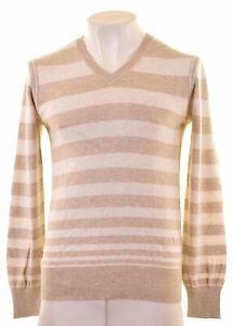 Levi Strauss & Co Herren V-Ausschnitt Pullover Medium Beige Gestreift Baumwolle co08