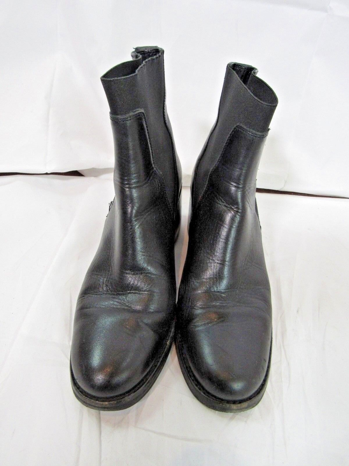 Delman Black Leather Block Heel Ankle Boot Size 6.5