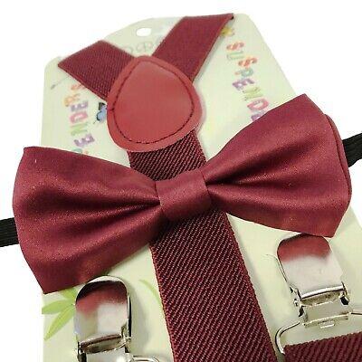 Kids Baby Suspender and Bowtie Combo Set Boys Girls Toddler Burgundy