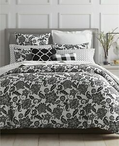 Charter-Club-Damask-Designs-Black-amp-White-Floral-Flower-King-Comforter-Sham-Set