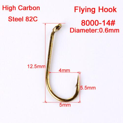 200pcs Angelhaken Fliegenfischerhaken 4 Größen Kohlenstoffstahl Langlebig