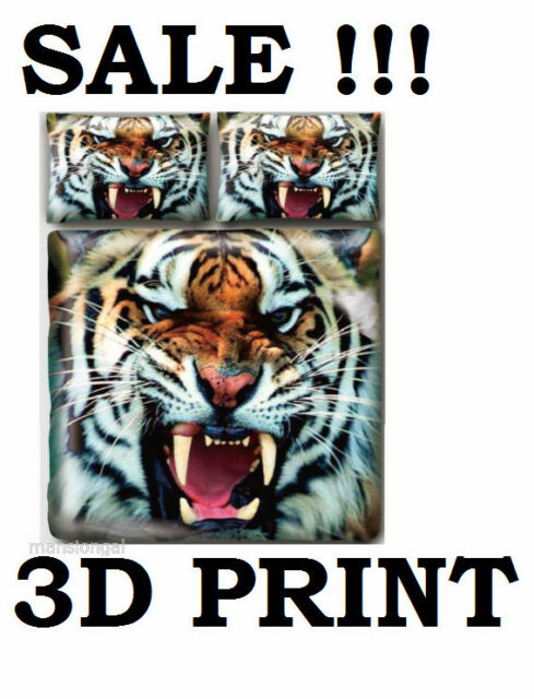 ANGRY TIGER  WILD 3D PRINT  DUVET / QUILT COVER SET  BRAND NEW - SALE !!!!