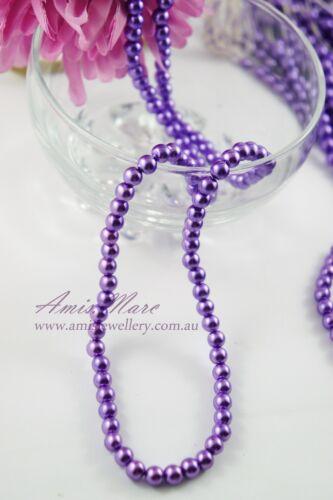 140pcs 6mm Violet Purple Color Faux Imitation Acrylic Round Loose Pearl Beads