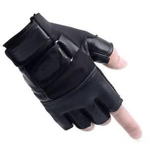Driving-Motorcycle-Bike-Fingerless-Black-PU-Gloves-Half-Finger-Warm-Gloves