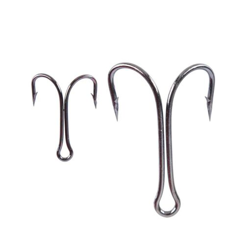 50pcs Dual High Carbons Steel Black Fishing Hooks Double anchors hook Saltwaters