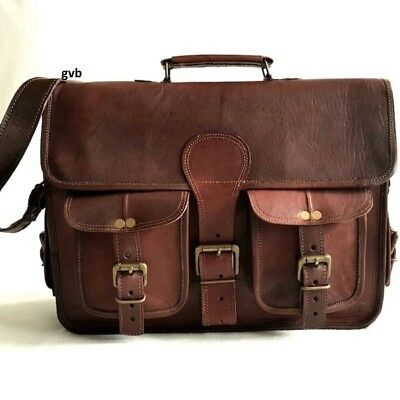 Men S TO XXL Vintage Leather Messenger Shoulder Laptop Bag Briefcase satchel