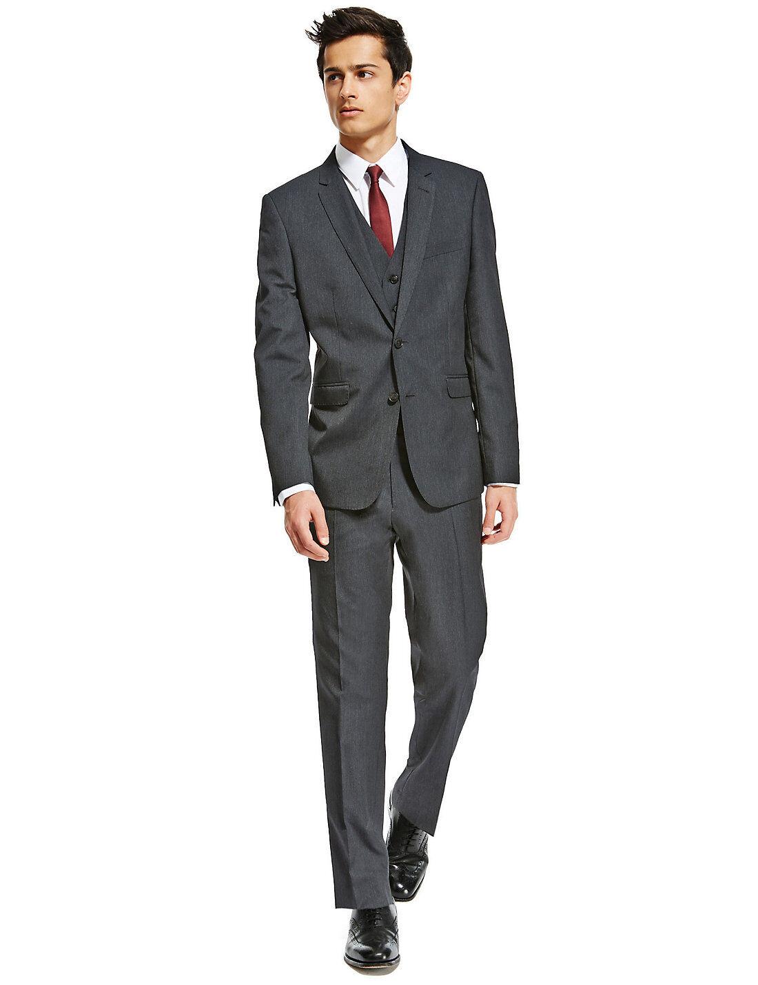 M&S Ltd Edition Charcoal Grey Super Slim 2 Button Suit Sz  38  Short &  Medium