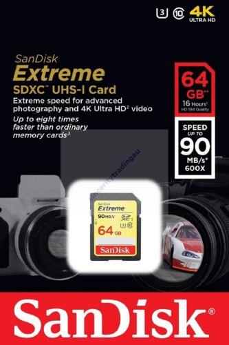 1 of 1 - SANDISK EXTREME SDXC SD XC 64GB 64G 64 G UHS-I U3 CLASS 10 90MB NEW