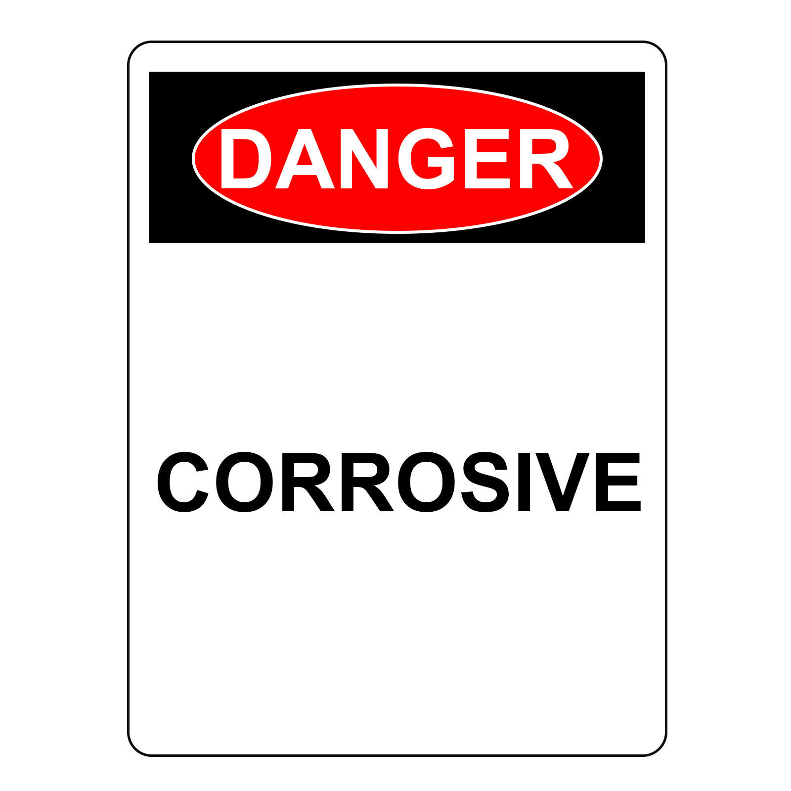 Danger Corrosive Sign, Aluminum Metal Hazard Safety Warning UV Print Signs
