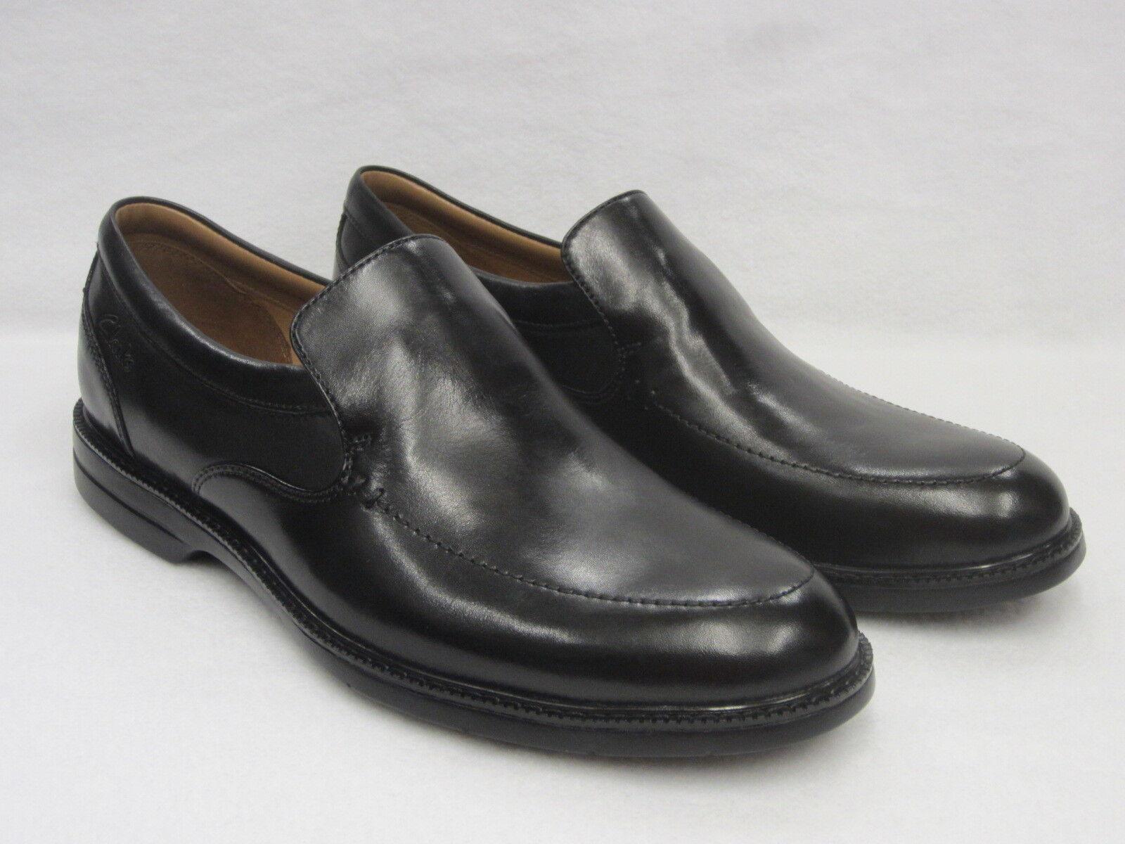 Clarks Hommes A Enfiler Chaussures Cuir Noir Bilton Step