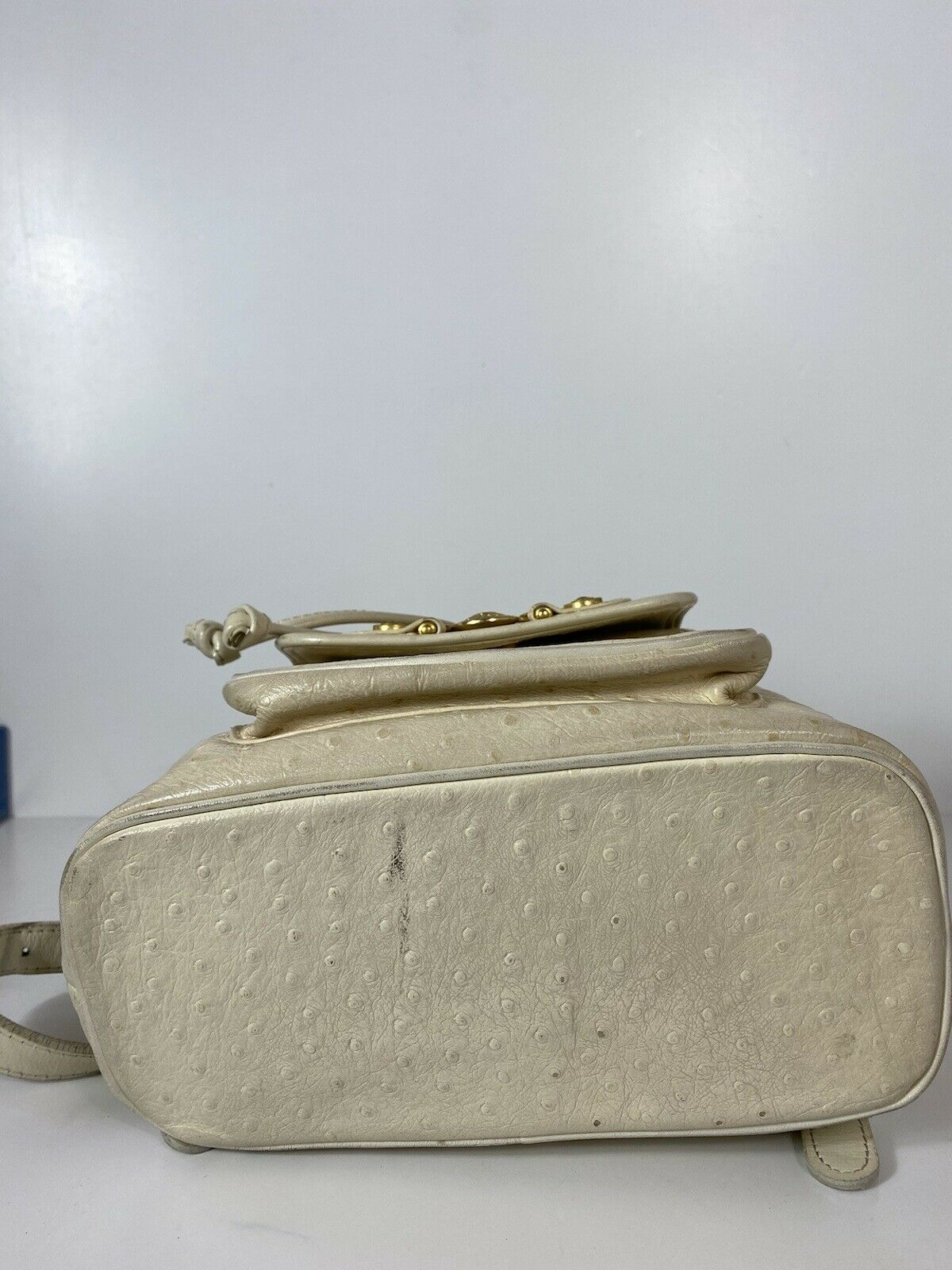RARE VTG GIANNI VERSACE 90S WHITE OSTRICH BACKPACK - image 4