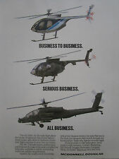 1/1989 PUB MCDONNELL DOUGLAS AH-64 APACHE MD 500E MG DEFENDER HELICOPTER  AD