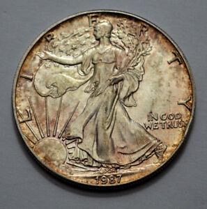 1987-American-Silver-Eagle-Dollar-1-Oz-Fine-Silver-Natural-Toning-UNC-MS