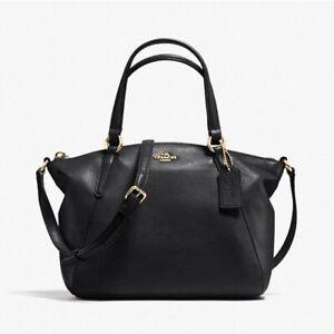 COACH Pebble Leather Kelsey Mini Satchel Tote Bag Crossbody Black Gold Leather