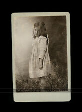cabinet card photo - little girl with long messy hair - unusual pose