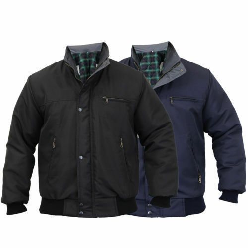 Mens Sky Diver Bomber Jacket Padded Coat Work Quilted//Checked Tartan Winter New