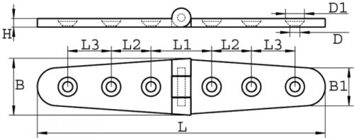 Charnière en acier inoxydable AISI 316 153 x 30 Arbo-Inox