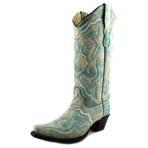 Corral E1007 Women Pointed Toe Leather Blue Western Boot ...